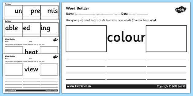 Prefix and Suffix Word Builder Cards and Worksheets prefixes and suffixes prefix and suffix