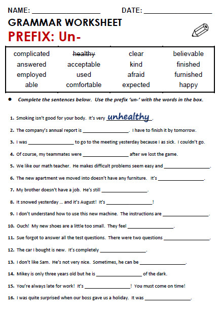Grammar Worksheet Prefix Un