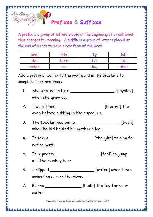 Page 8 page 8 prefix and suffix worksheet
