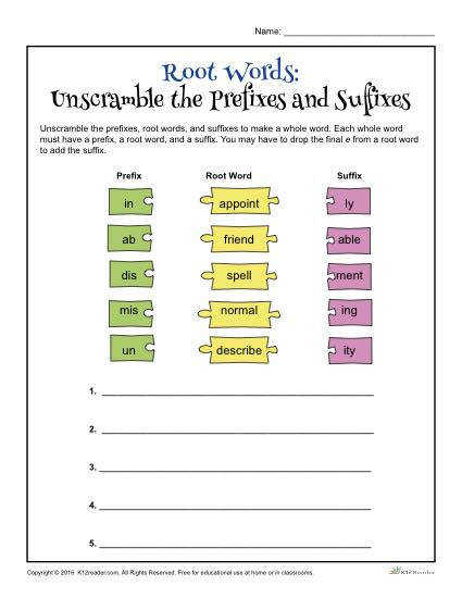 Root Words Unscramble the Prefixes and Suffixes