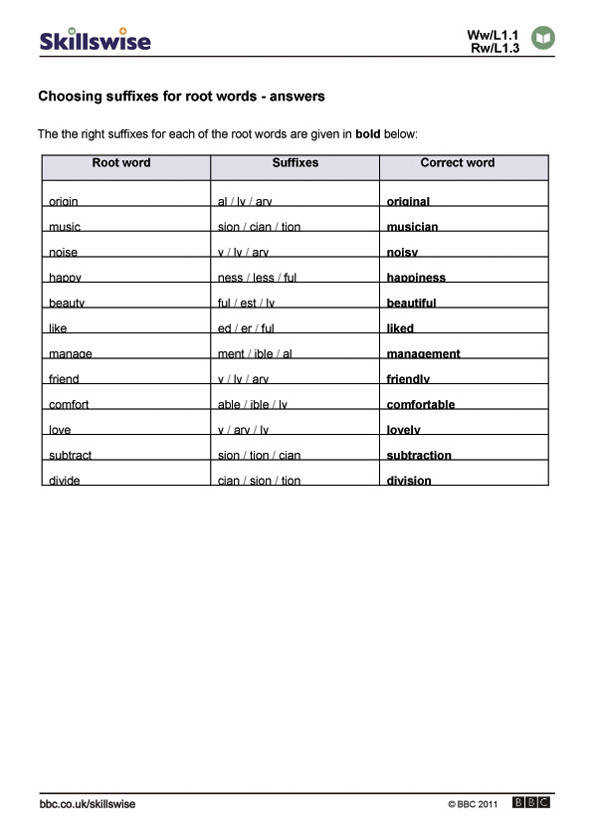 en17suff l1 w choose the correct suffix for each root word ans 592x838