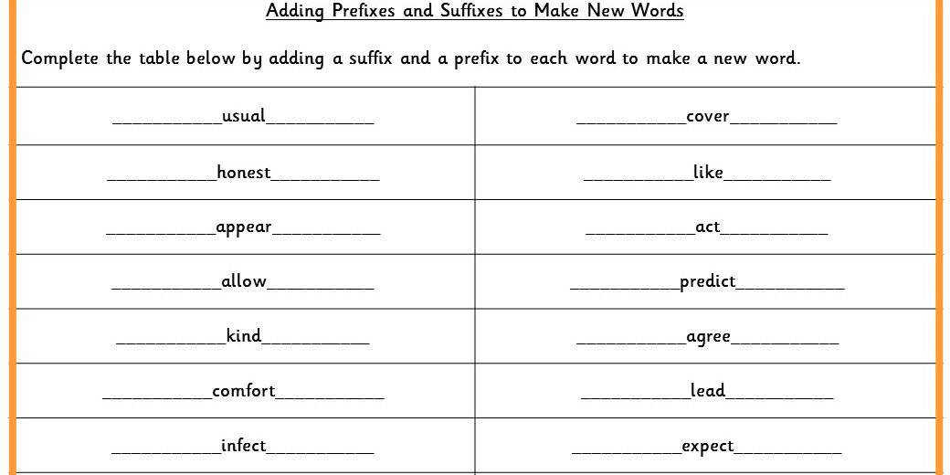 Adding Prefixes and Suffixes to Make New Words Tricky Worksheet