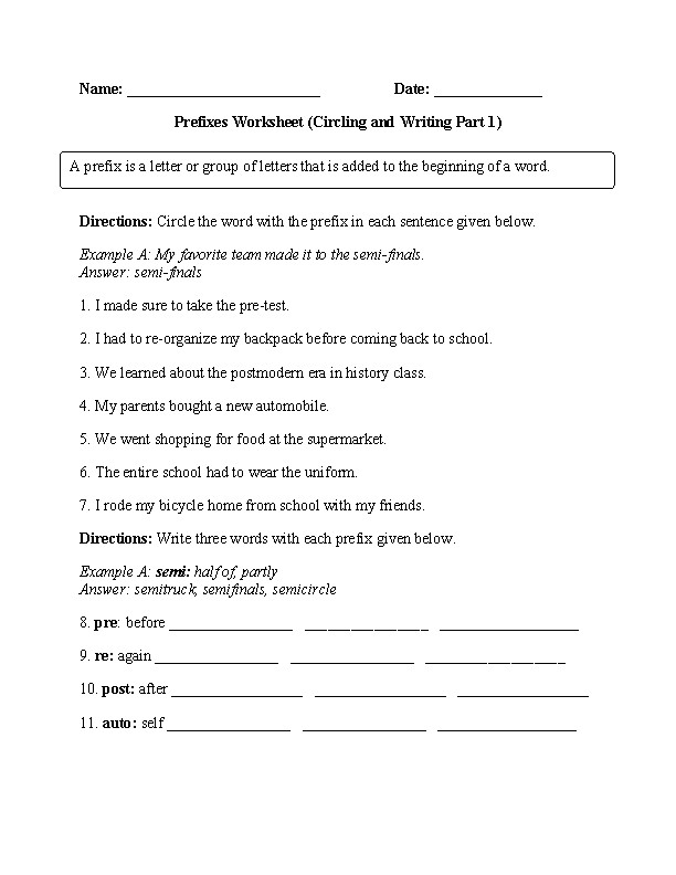 Circling and Writing Prefixes Worksheet