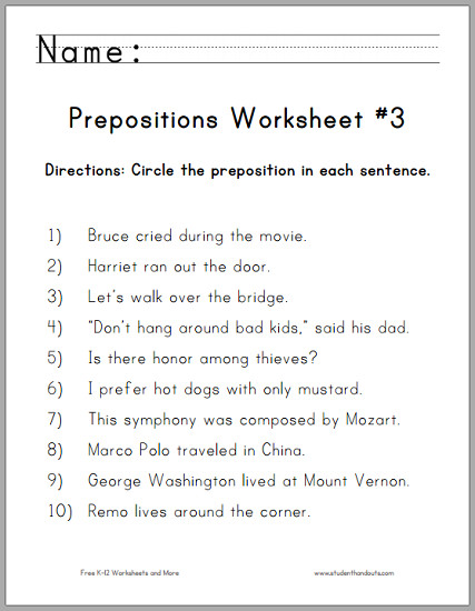 circle prepositions worksheet 3