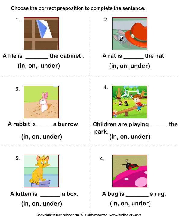 plete the Sentences Using in on and Under