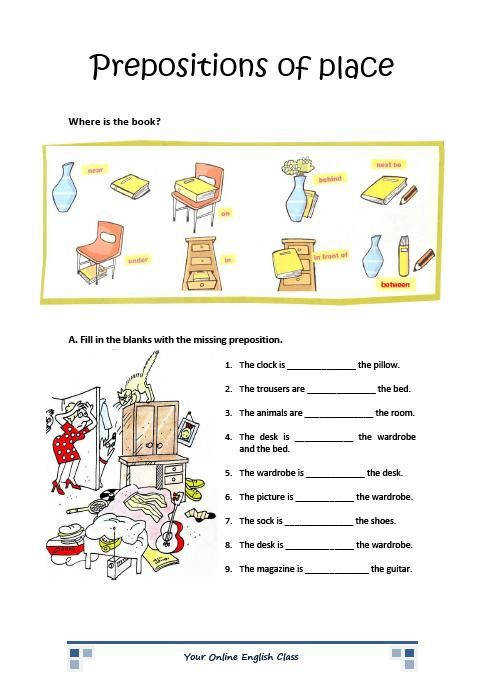 english grammar prepositions of place worksheets for kids ESL ELL