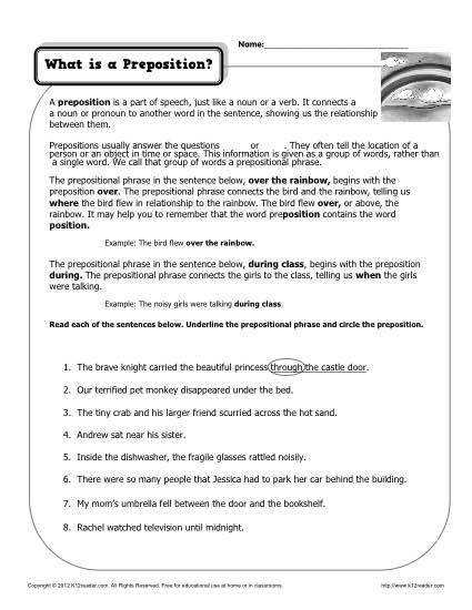 Underlining Prepositional Phrase Worksheets Part 1 Prepositions