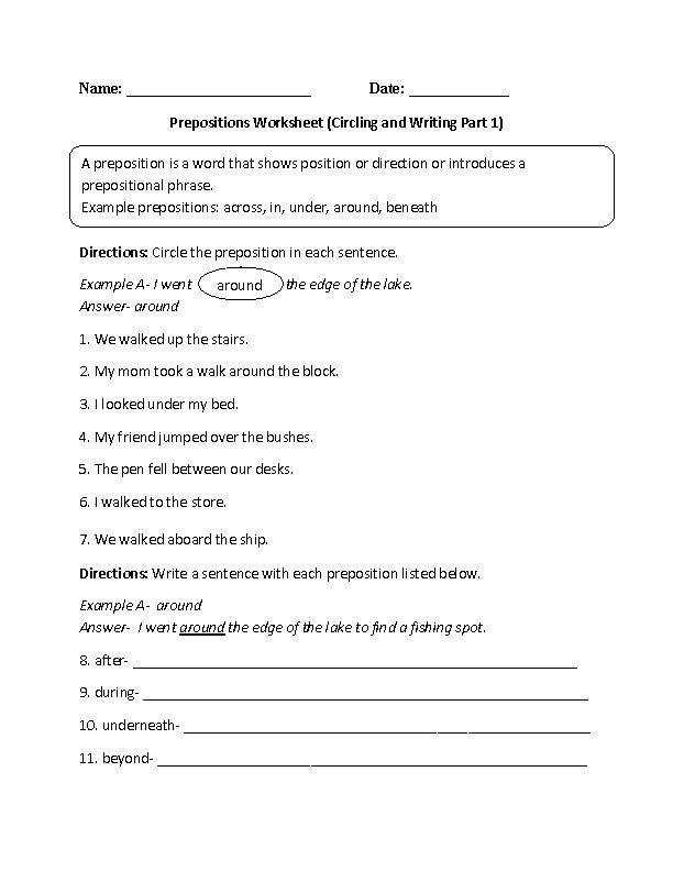 Circling and Writing Prepositions Worksheet Grades