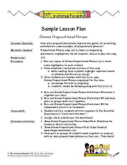 Prepositions Worksheet Packet and Lesson Plan
