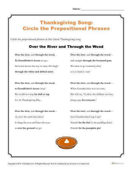 Thanksgiving Song Circle the Prepositional Phrases Worksheet