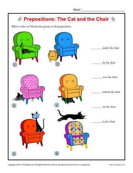 Prepositions Worksheet Activity The Cat and the Chair