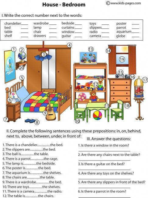 My junior high english class Bedroom And Prepositions worksheet