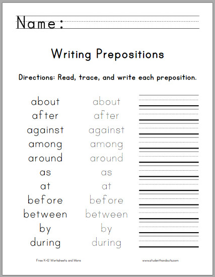 Writing the Top 25 Prepositions Free printable worksheet for first graders