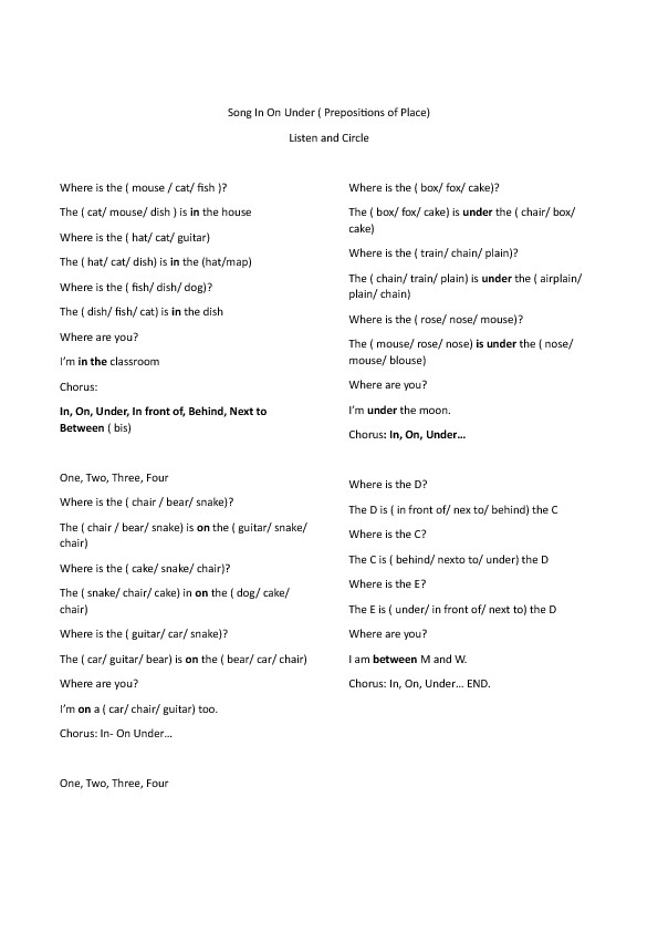 Song Worksheet Prepositions
