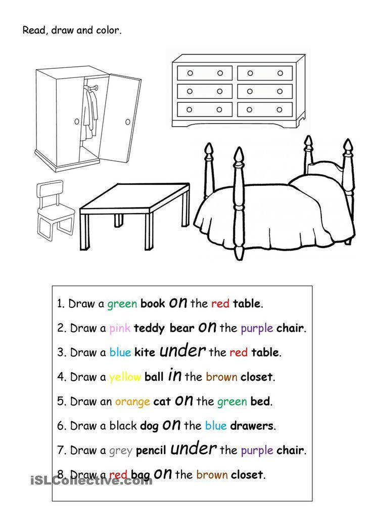 prepositions Read draw and color