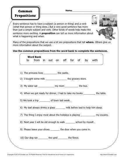 mon Prepositions Worksheet Practice Activity