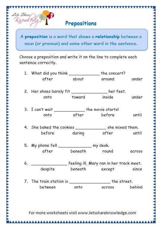 Grade 3 Grammar Topic 17 Prepositions Worksheets