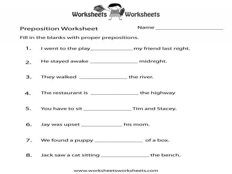 Prepositions Worksheets Free Printable Worksheets For Teachers