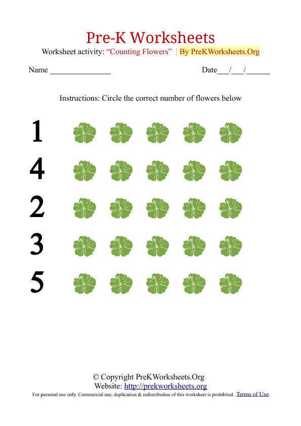 Pre K Counting Worksheets with Flowers