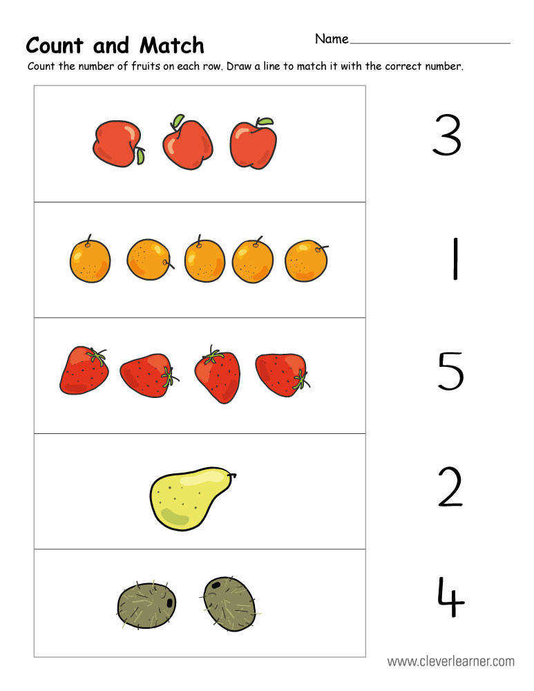 count and match number activity worksheet for preschool