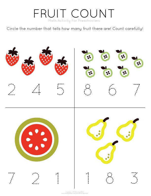 Template Tuesday Fruit Count work on counting and number recognition skills with this free