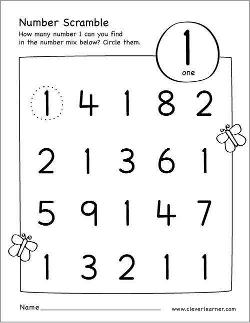 Free printable scramble number activity