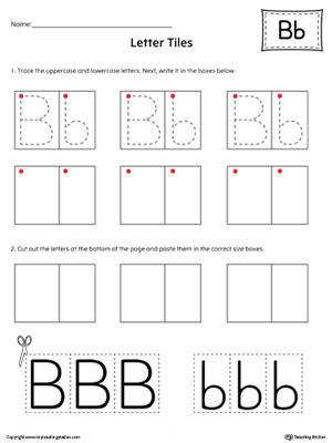 Letter B Tracing and Writing Letter Tiles