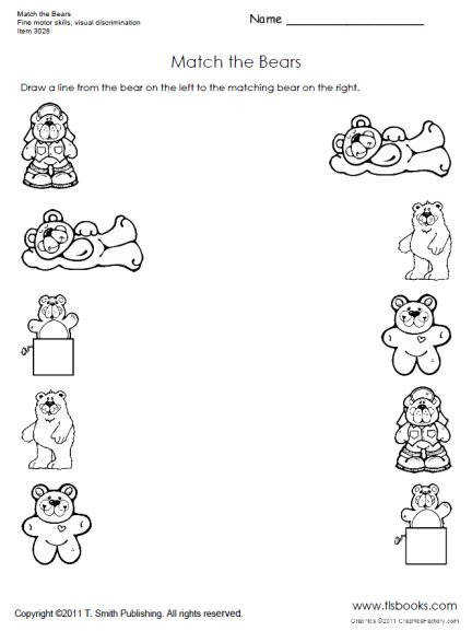 Snapshot image of Match the Bears worksheet