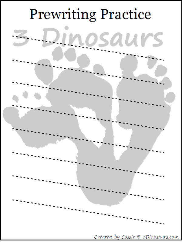 Free Prewriting Practice Printables 14 different pages 3Dinosaurs