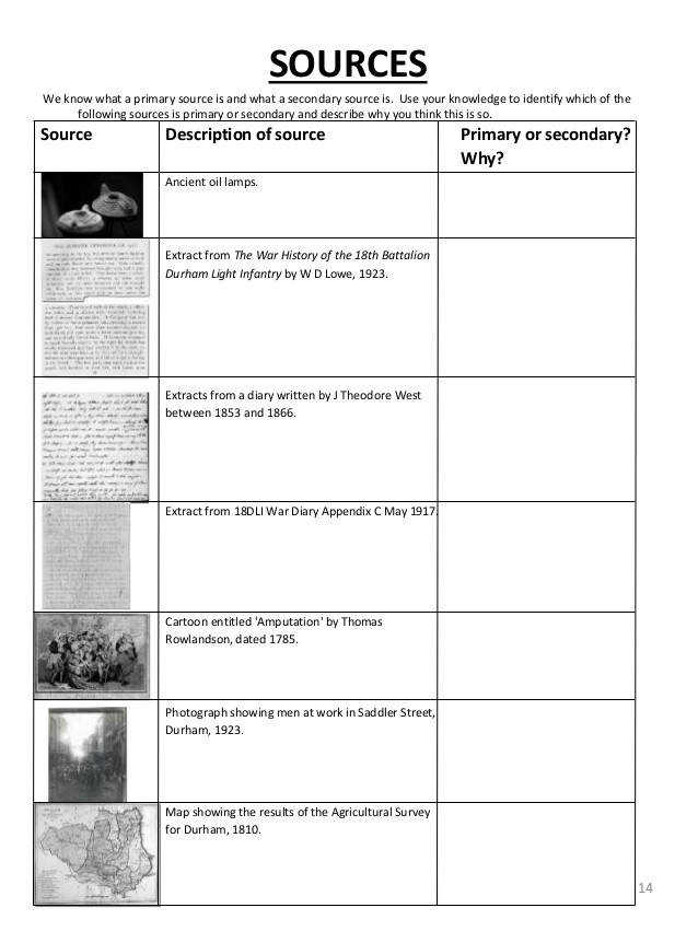 Primary And Secondary Sources Worksheets primarysource