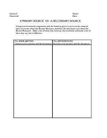 Primary Vs Secondary Sources Worksheet Free Worksheets Library