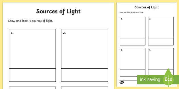 Sources of Light Worksheet sources of light where does the light e from