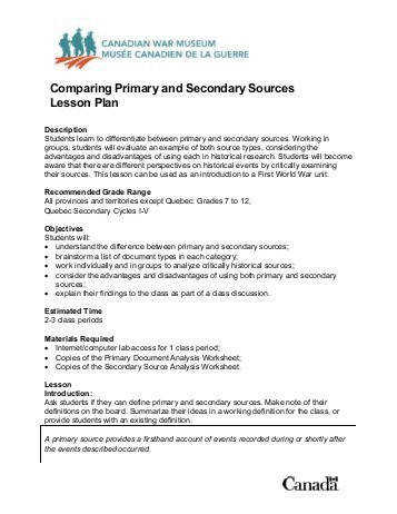 Lesson Plan paring Primary and Secondary Sources pdf