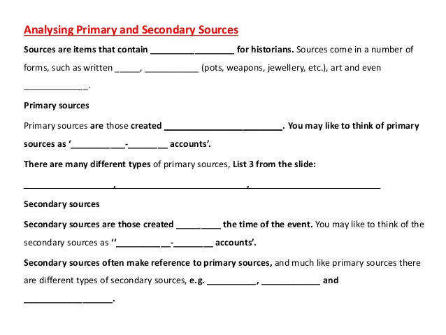 Secondary Sources Start your research with secondary sources to