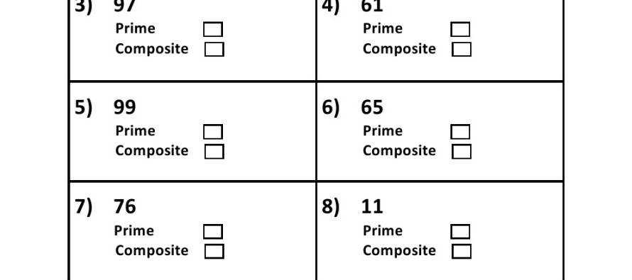 Prime and posite Number Charts and Student Worksheets Grades 4