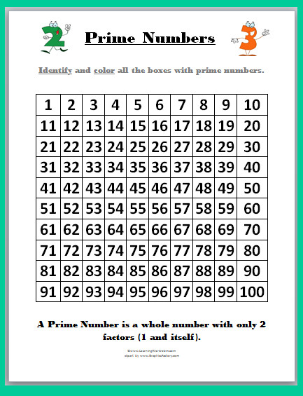 Prime and posite Numbers Worksheets