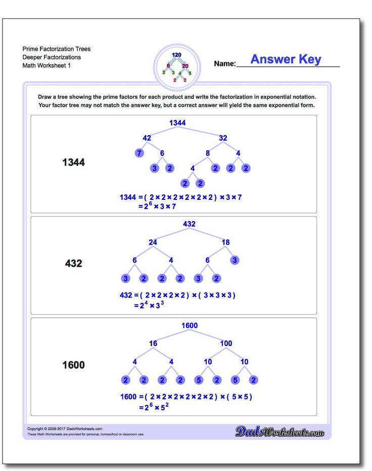 Prime factorization is a great way to introduce primes numbers posite numbers and more number theory Try these worksheets and the interactive