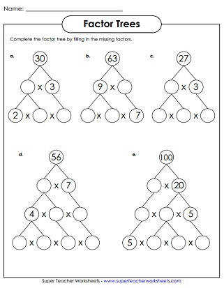Factor Tree Worksheets Prime Number Worksheets