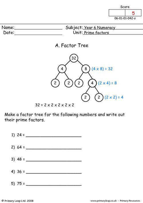 PrimaryLeap Prime factors Worksheet