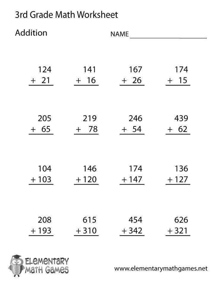 Learn and practice addition with this printable 3rd grade elementary math worksheet