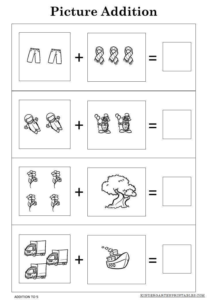Download and print these picture addition worksheets to 5 Addition of numbers that make up to 5 which provides lots of practice there are 4 sheets to use