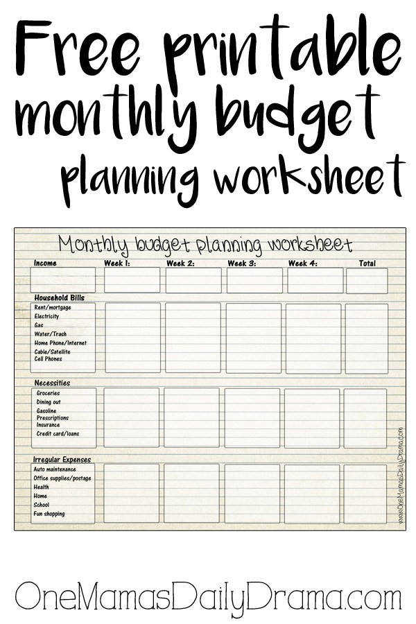 Free printable monthly bud planning worksheet