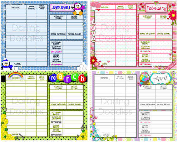Printable Bud Worksheets Set of 12 Yearly Bud Worksheet Printable Monthly Bud Financial Planning Expense Tracker
