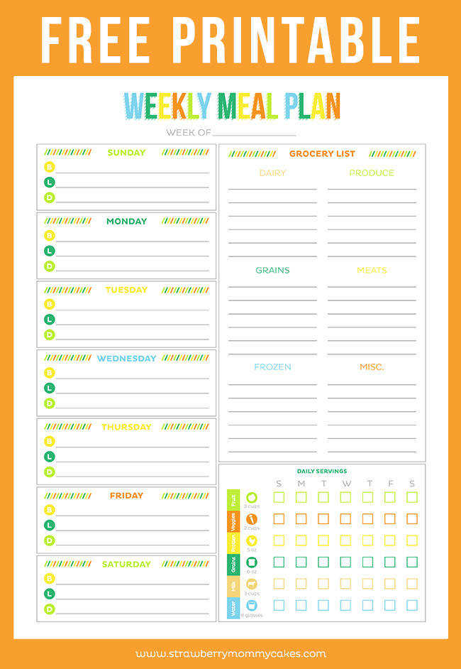 FREE Printable Weekly Meal Plan on HealthyHydration CollectiveBias