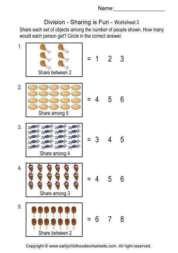 Printable division worksheets for helping kids to learn the basic concept of division each set of objects among the number of people shown