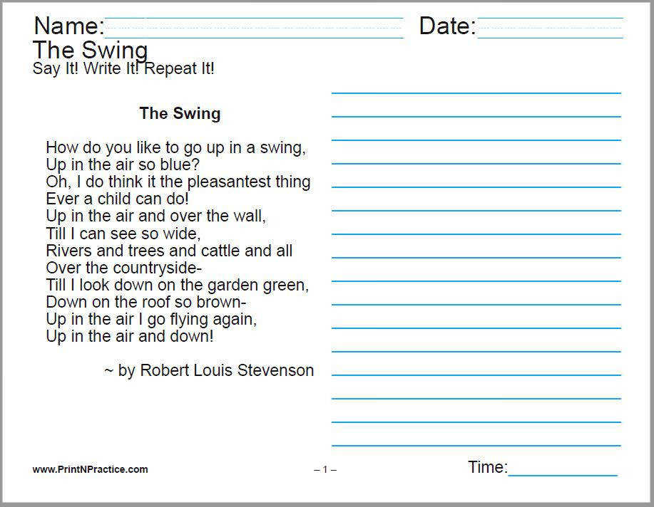 Printable Handwriting Worksheets Poem and lines for copywork Great for cursive handwriting practice