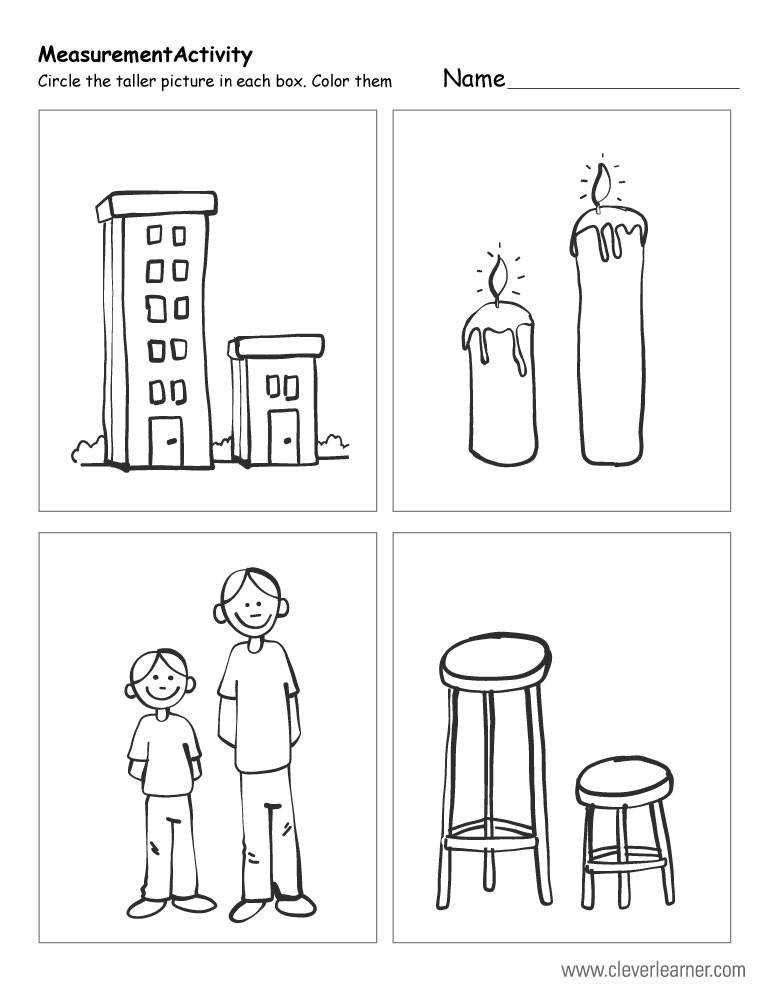 Which object is taller free worksheet for preschools
