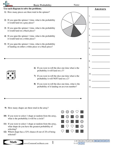 Basic Probability worksheet Basic Probability worksheet