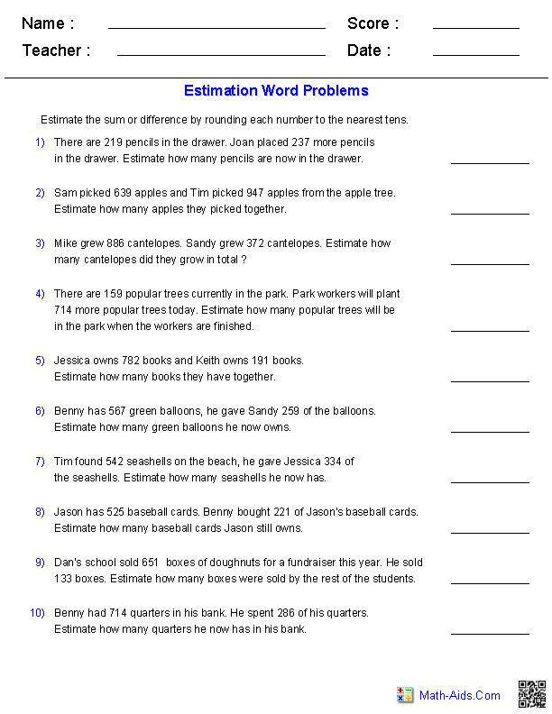 Estimation Worksheets Sums and or Differences 3 Digits Word Problems