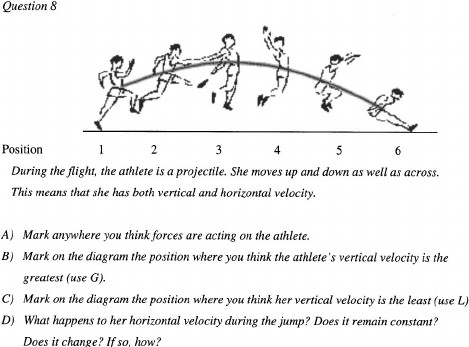 Question relevant to the projectile motion segment from the evaluation quiz—